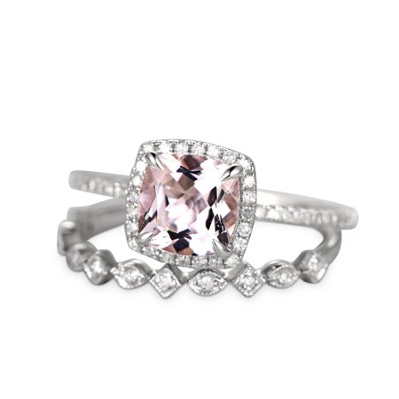 2 Carat Cushion Cut Morganite and Diamond Halo Wedding Set in White Gold ()