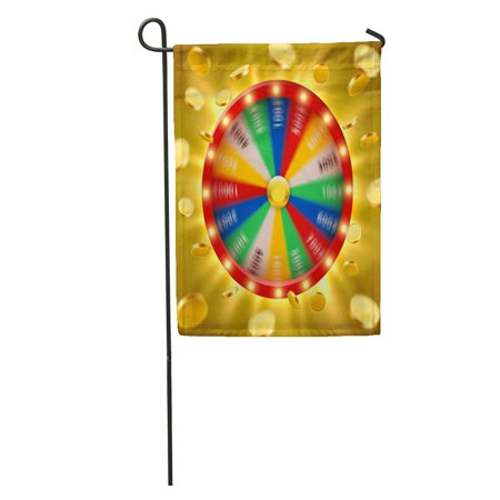 LADDKE Colorful Realistic 3D Spinning Fortune Wheel Flying Golden Coins Lucky Garden Flag Decorative Flag House Banner 12x18 inch