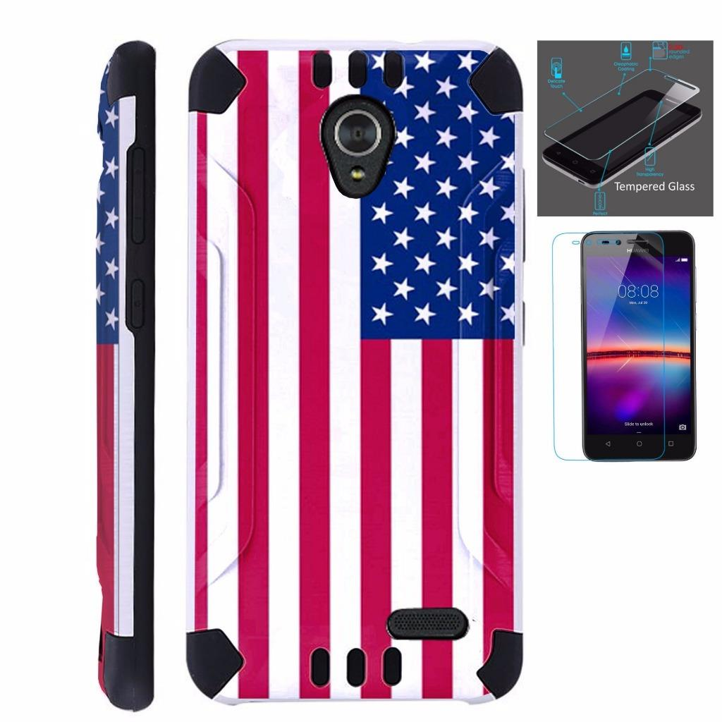 For ZTE Maven 3 / ZTE Prelude 4G LTE 2017 / ZTE Overture 3 Case + Tempered Glass Slim Dual Layer Brushed Texture Armor Hybrid TPU KomBatGuard Phone Cover (American US Flag)