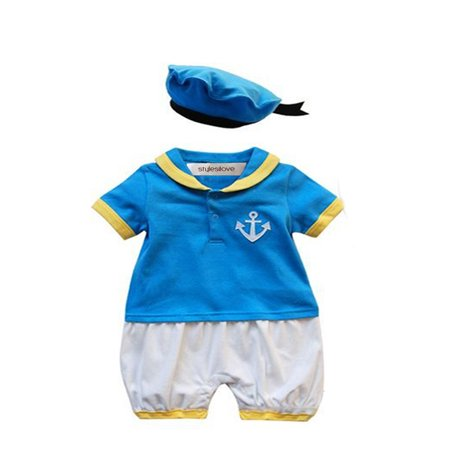 StylesILove Baby Boy Donald Duck Inspired Costume Romper and Hat (6-12 Months)