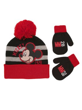 Disney Mickey Mouse Hat and Mittens Cold Weather Set, Toddler Boys, Age 2-4