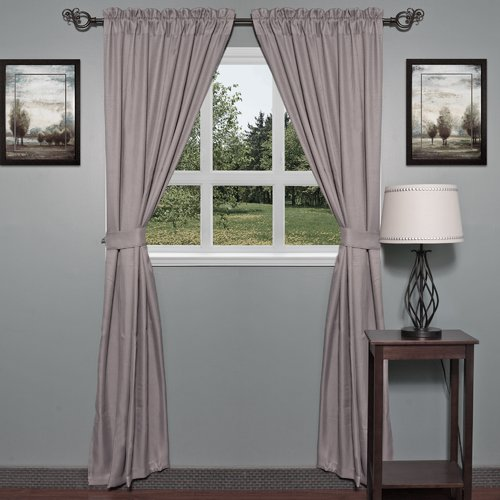 Sweet Home Collection Burlap Curtain Panels (Set of 2)