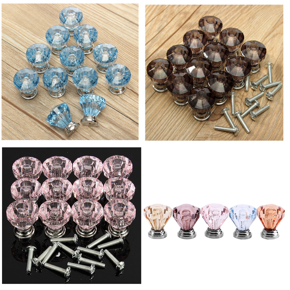 8/16/20 pcs 25mm Diamond Shape Crystal Glass Cabinet Knob Cupboard Drawer Pull Handle