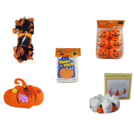 Halloween Fun Gift Bundle [5 Piece] -  Black & Orange Pumpkin Garland 10 ft. - Party Favors Pumpkin Candy Containers 6 Count -  Trick or Treat Bags 40/ct -  Felt Pumpkin Decoration -  Ceramic Ghost