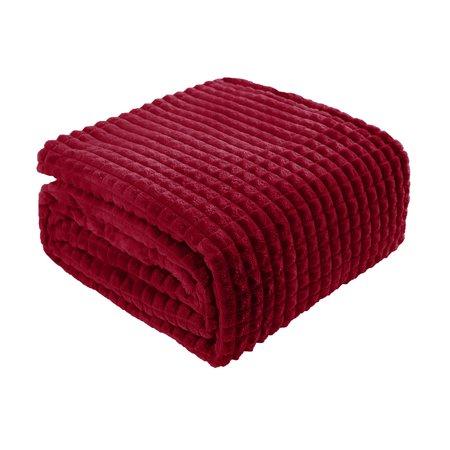 """Solid Flannel Fleece Twin Size Blanket Lightweight Plush Velvet Grid Pattern Blanket for Couch and Bed,59""""x 78"""",Burgundy"""
