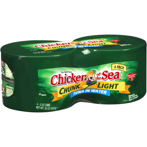 Chicken of the Sea Chunk Light Tuna in Water, 5 oz, 4 count