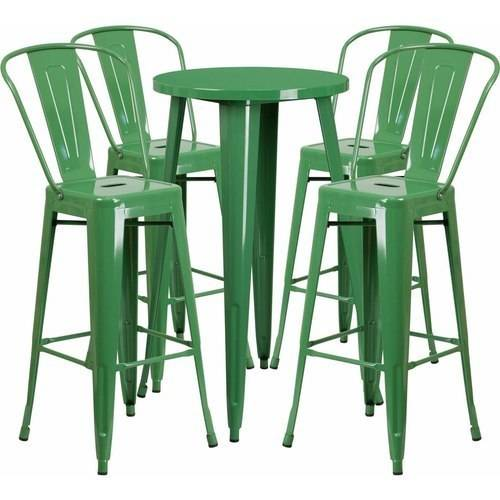 "Flash Furniture 24"" Round Metal Indoor-Outdoor Bar Table Set with 4 Cafe Barstools, Multiple Colors"