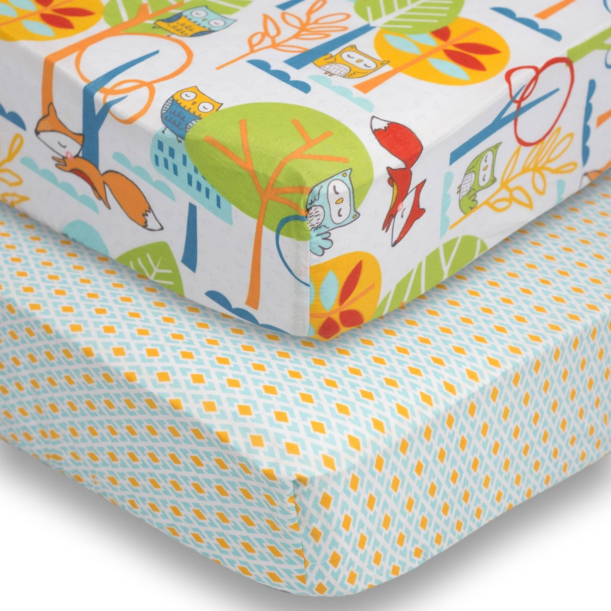 Poppi Living Forest 2-Pack Premium Cotton Fitted Crib Sheets