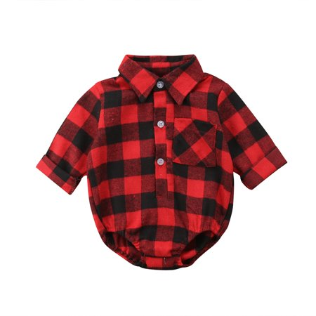 e97e28b63 CHRONSTYLE - Kids Baby Boys Girls Printed Plaid Long Sleeve Tops Shirt T- shirt Romper Outifts Casual Spring Summer Clothes - Walmart.com