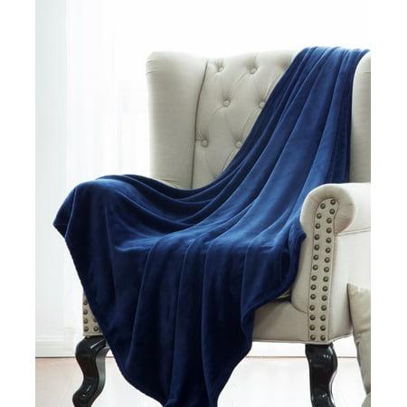 ULTRA SOFT THROW NAVY BLUE, Microlight Plush Solid Fleece Small Throw Blanket 50