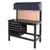 WORKPRO 2-in-1 48in Workbench and Cabinet Combo with Work Light