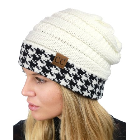 a82d5429e07 C.C Cable Knit Soft Stretch Multicolor Stitch Cuff Skully Beanie Hat ...