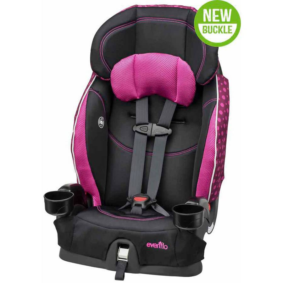Evenflo Chase Select Harnessed Booster Car Seat, Berry Dot