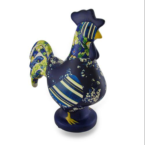 Blue and Yellow Quilt Look Ceramic Rooster Statue 10 in.