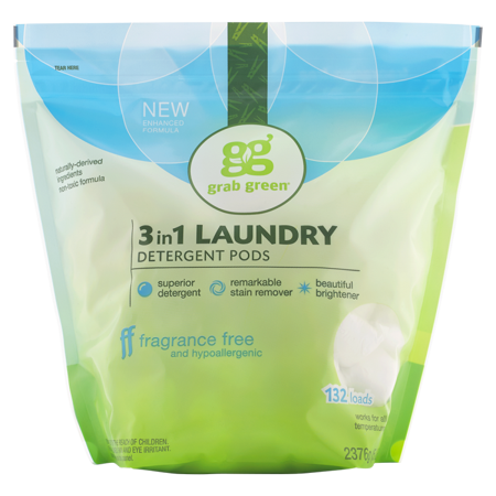 Grab Green Natural 3 in 1 Laundry Detergent Pre-Measured Powder Pods, Fragrance Free, 132 Loads
