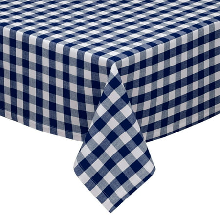 Navy and White Cotton Rich Checkered Kitchen/Dining Room Tablecloth: Gingham/Plaid - Gingham Tablecloths
