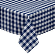 Navy and White Cotton Rich Checkered Kitchen/Dining Room Tablecloth: Gingham/Plaid Design