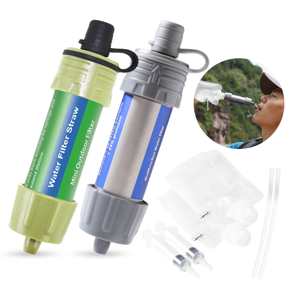 Walmeck Water Filter Straw Set With Ball Pump Water Filtration Straw Water Purifier for Survival Emergency Camping Hiking Backpacking