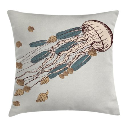 Jellyfish Throw Pillow Cushion Cover, Boho Feather Tentacles Shells Vintage Art Print Under the Sea Tribal Fish, Decorative Square Accent Pillow Case, 18 X 18 Inches, Gray Beige Brown, by - Tribal Fish