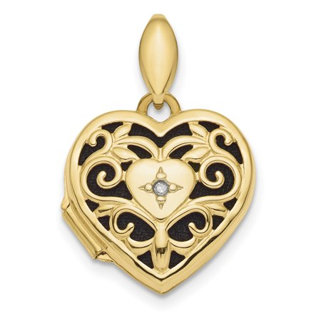 14k Yellow Gold Filigree Diamond Heart Photo Pendant Charm Locket Chain Necklace That Holds Pictures Fancy Gifts For Women For Her mothers day gifts mom wife daughter