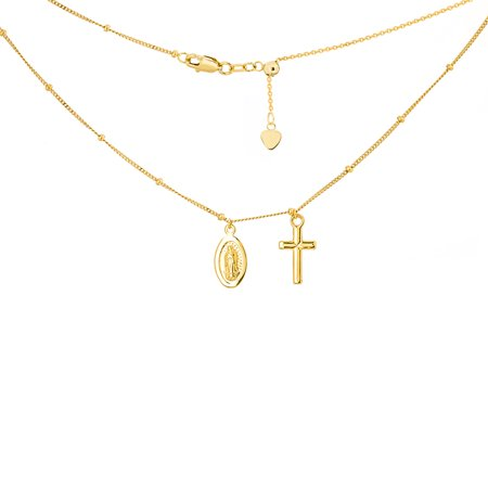 """14K Yellow Gold Virgin Mary Medal and Cross Pendant Over Saturn Chain Choker Necklace. Adjustable 10""""-16"""""""