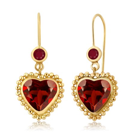 4.28 Ct Heart Shape Red Garnet Red Ruby 14K Yellow Gold