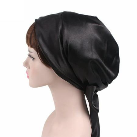 Hot Soft Bonnet Replacement - Soft Satin Sleeping Cap Salon Bonnet with Long Drawstring black
