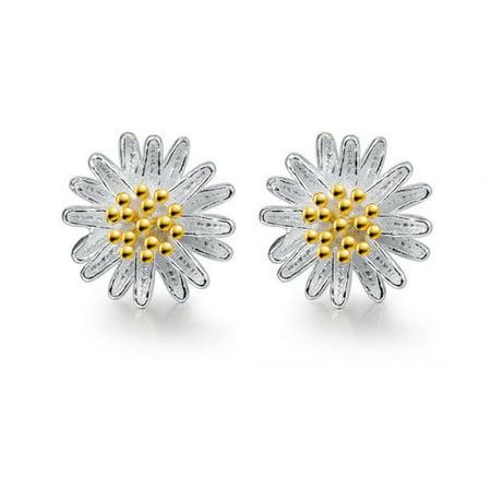 Solid 925 Sterling Silver Daisy Shape Women Sterling Silver Stud Earrings