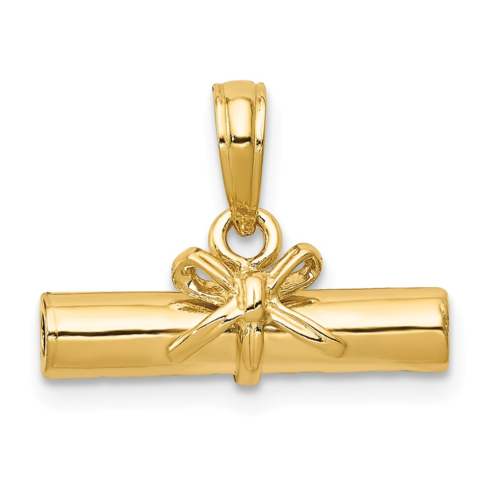 14k Yellow Gold Hollow Polished Diploma Pendant