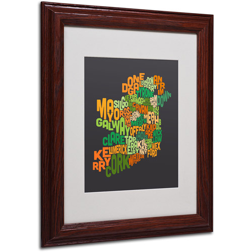"Trademark Fine Art ""Ireland Text Map 6"" Matted Framed Art by Michael Tompsett"