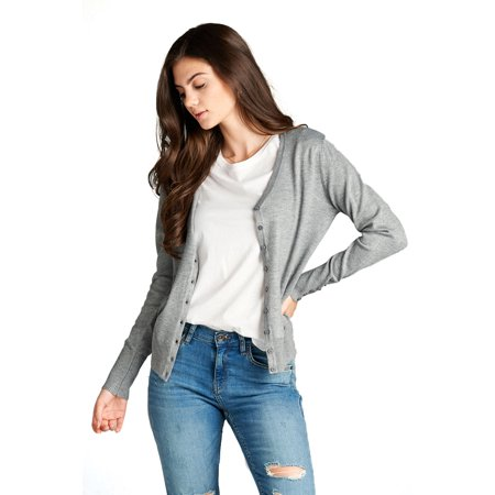 (Emmalise Women's Classic V-Neck Button Down Cardigan Sweater Small to XL)