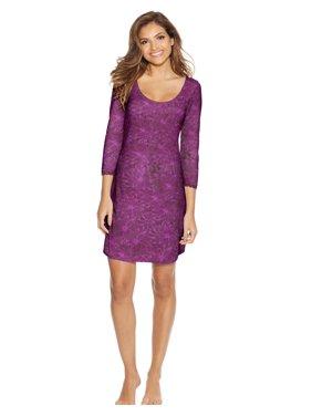 Maidenform Womens Lace Sleepshirt, L, Purple Floral