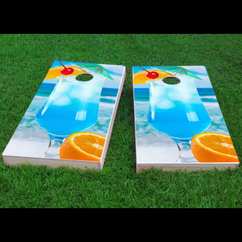Click here to buy Custom Cornhole Boards Blue Drink on the Beach Cornhole Game (Set of 2) by Custom Cornhole Boards.