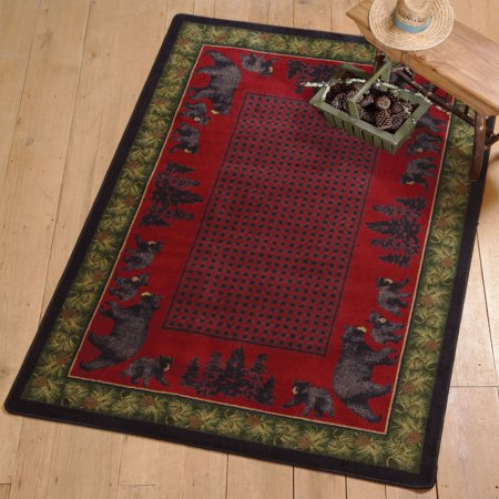 Big Sky Bear Family Multicolor Rustic Rug - 4 x 5 - Cabin  Decor