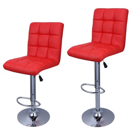 Belleze Leather Hydraulic Lift Adjustable Counter Bar Stool Dining Chair Red -Pack of 2