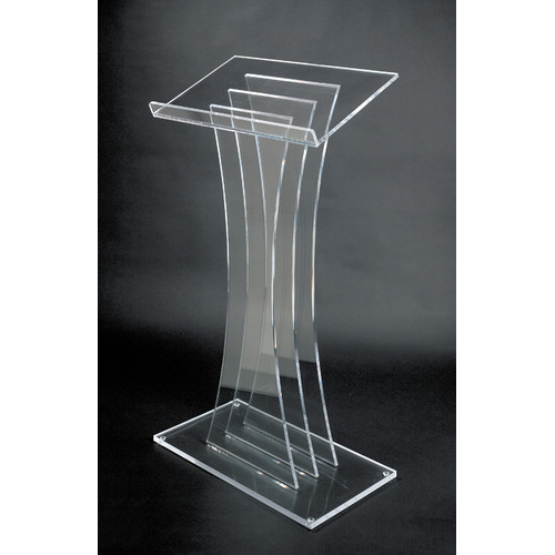 AMPLIVOX SOUND SYSTEMS SN3065 Lectern, Clear Acrylic, 47x27x16 In
