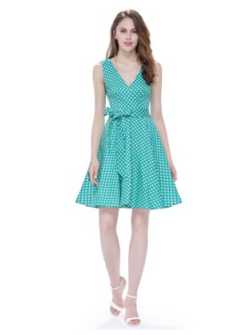a9a6fc19c61 Product Image Ever-Pretty Womens Retro Short V Neckline Fit and Flare Polka  Dot Cocktail Party Summer