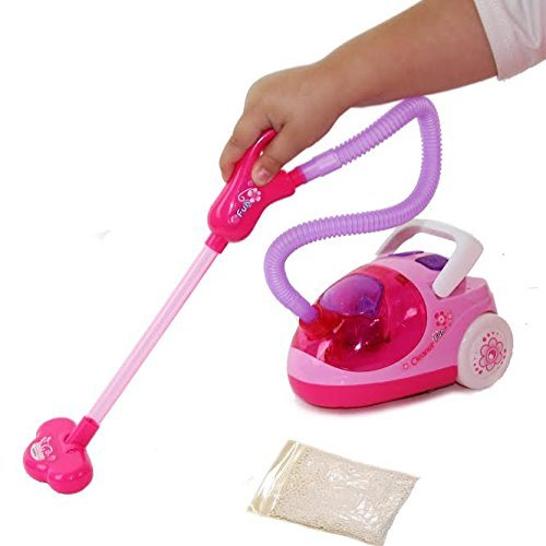 Dazzling Toys Toy Vacuum Cleaner - Pretend Play Housekeeping Clean up Toy Vacuum Cleaner with Real Suction - for Kids Ages 3 and Up - Perfect for Little Girls