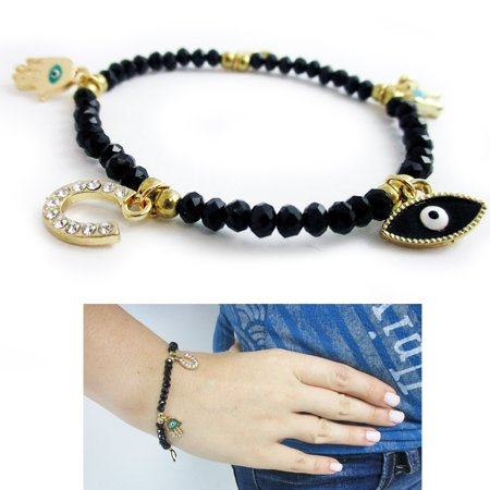 Evil Eye Bracelet Stretch Beaded Black Crystal Hamsa Fatima Lucky Charm Kabbalah ()