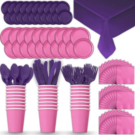 Paper Tableware Set for 24 - Hot Pink & Purple - Dinner and Dessert Plates, Cups, Napkins, Cutlery (Spoons, Forks, Knives), and Tablecloths - Full Two-Tone Party Supplies Pack