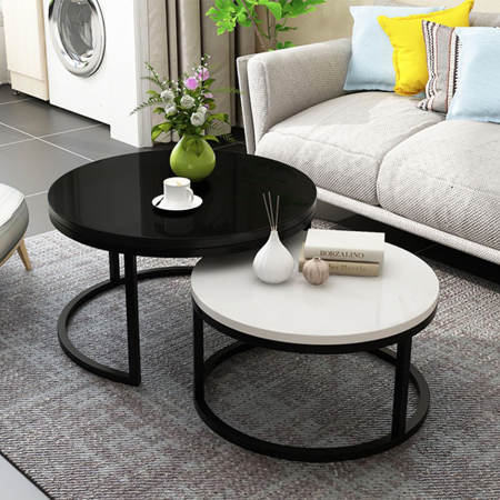 2 Round Tea Table Coffee Table Desk Sets | Black & White Twin Sets - Multi Function Wood & Steel Living Room Home Decor Sets - Polished Surface Overlapping Ending Tables Wood Desks (edited) Multi Living Room