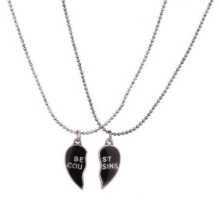 Lux Accessories Burnish Silver Best Cousins Mood Detachable Heart Necklace Set ( 2 Pc