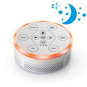 Dream Zone White Noise Sound Machine  Relaxing Sleep Therapy for Home, Office, Baby & Study  6 Unique Music Settings, Timer, USB Charging Ports & Flickering Night Light (White/Silver)