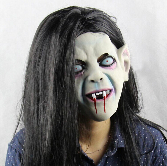 Latex Sadako Vampire Ghost Scary Mask Cosplay Horror Fancy Dress Party Costume Prop