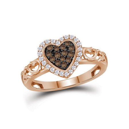 10kt Rose Gold Womens Round Brown Color Enhanced Diamond Heart Ring 1/4 Cttw - image 1 de 2