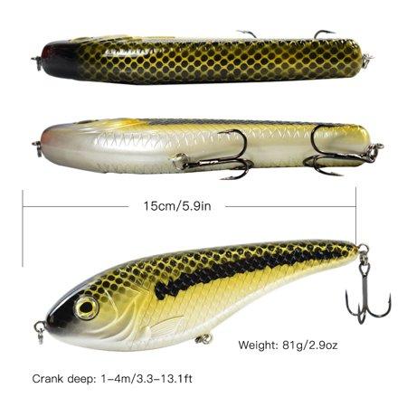 5.9in / 2.9oz Bionic Fishing Lure Hard Body Sinking Bait Fishing Bass Lure Fishing Lure Artificial Bait Lifelike Crankbait Hooks Fishing Tackle - image 6 of 7