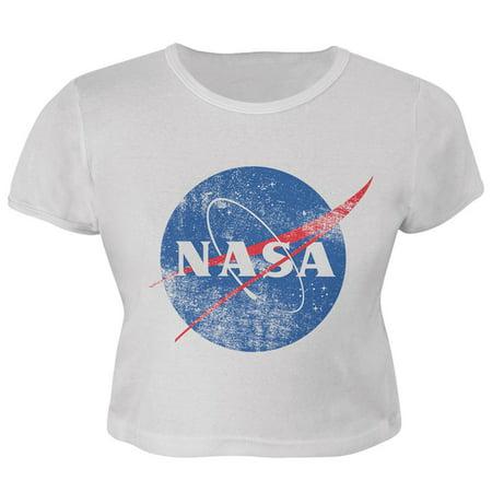 NASA Distressed Logo Juniors Crop Top T-Shirt