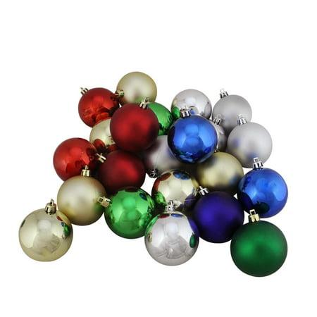 """32ct Incassable traditionnel multi-couleur brillant et mat Boule de Noël Ornements 3,25"""" (80mm) - image 1 de 1"""