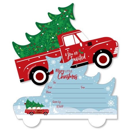 Merry Little Christmas Tree - Shaped Fill-In Invitations - Red Truck Christmas Party Invitation with Envelopes - 12 ct - Christmas Party Invitation