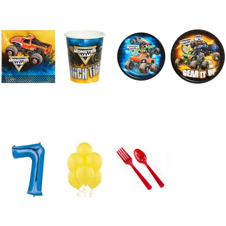 Monster Jam Party Supplies Party Pack For 8 With Blue #7 Balloon](Lil Monster Party Supplies)